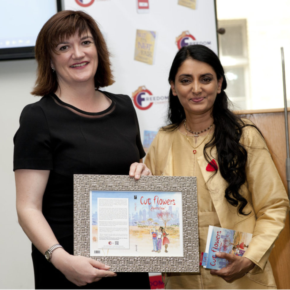 Nicky Morgan Mp and Aneeta Prem, Cut flowers presentation