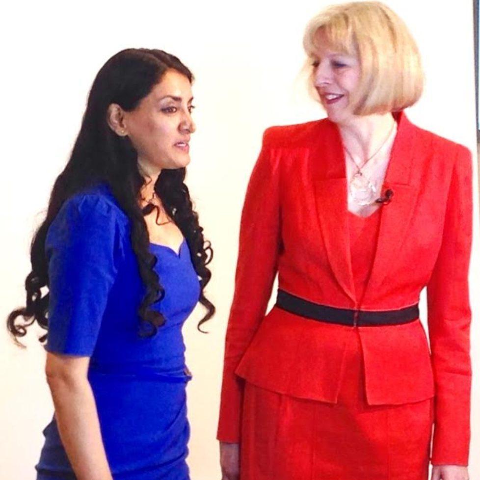 Aneeta and PM Theresa May being recordered 2