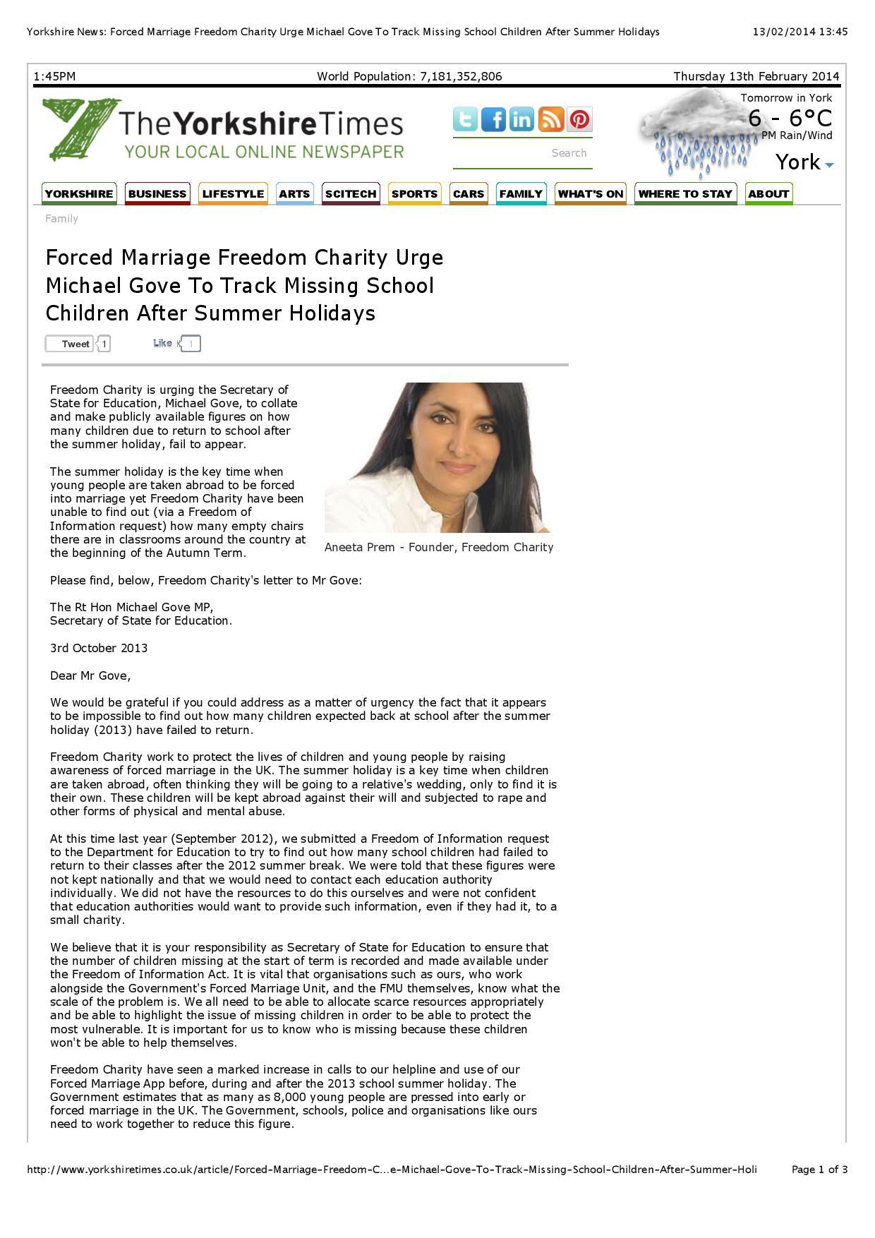 yorkshire-news-forced-marriage-freedom-charity-urge-michael-gove-to-track-missing-school-children-after-summer-holidays-page-001