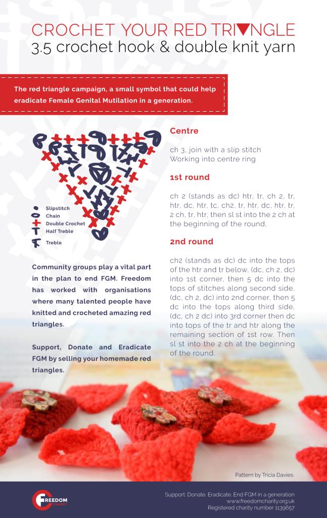 red triangle pattern, freedom charity knitting, cut flowers fgm, aneeta prem